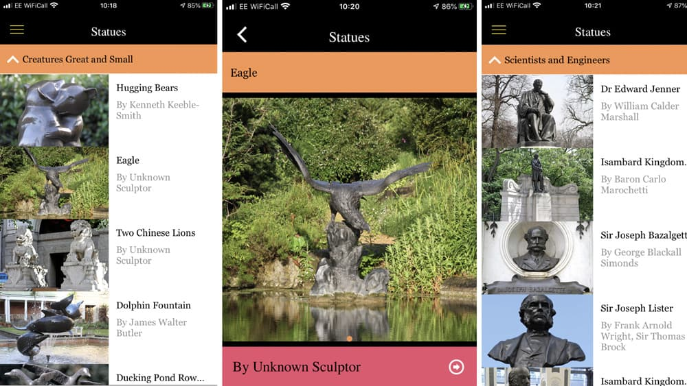 Pages from StatueFindr app