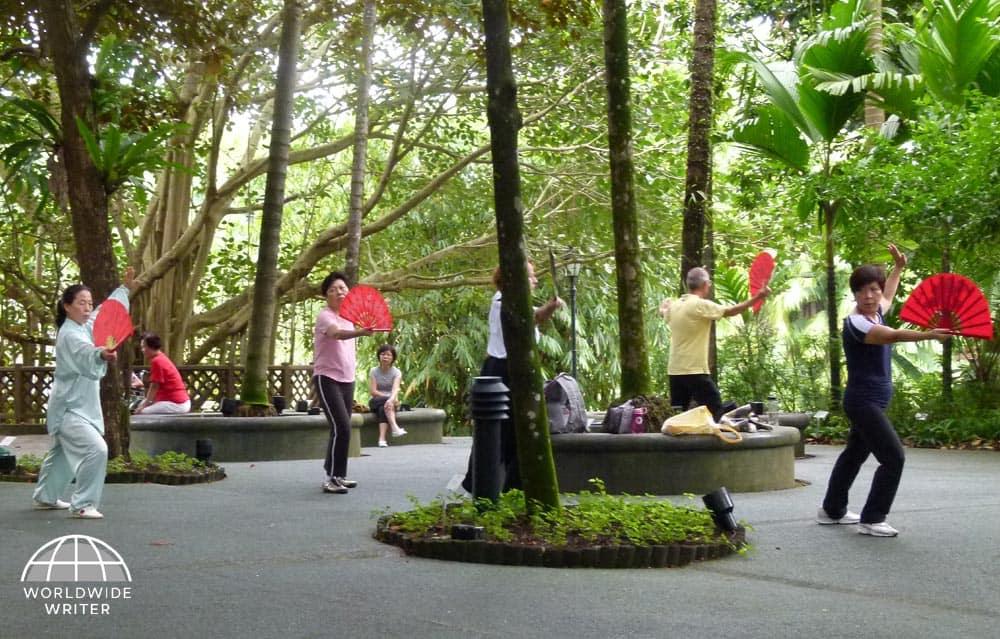 People practising Tai Chi in the Singapore Botanic Gardens