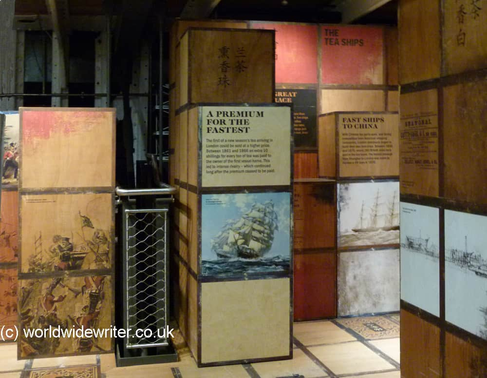 Old tea chests in the Cutty Sark