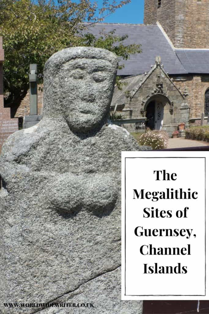 Pinnable image of the megalithic sites of Guernsey, showing a stone figure outside a church