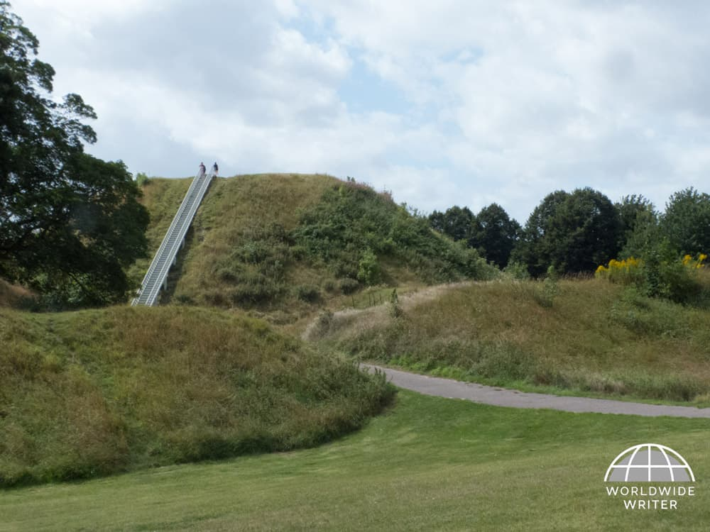 Mound of Thetford Castle with stairway to top