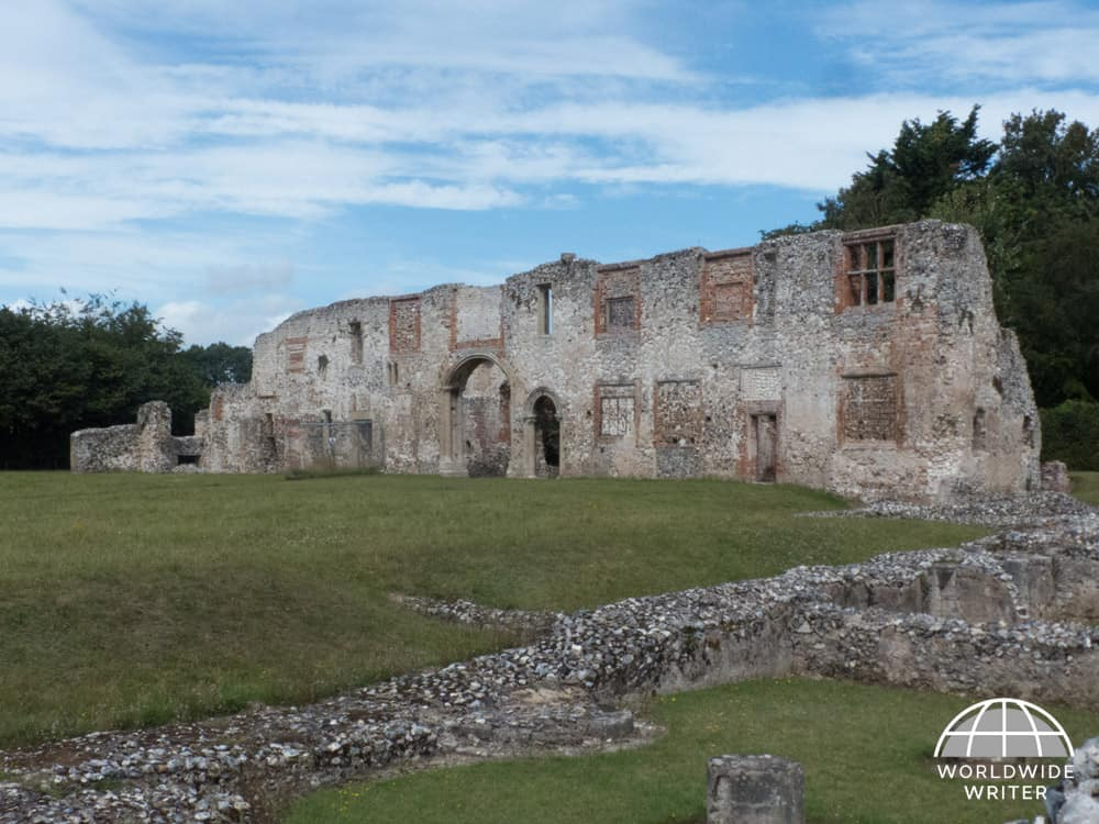Remains of stone wall and buildings of Thetford Priory