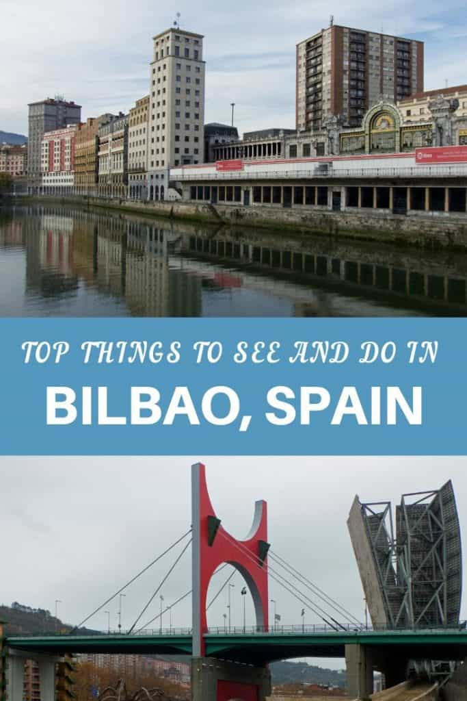 Pinnable image of things to see and do in Bilbao - riverside buildings and a modern bridge