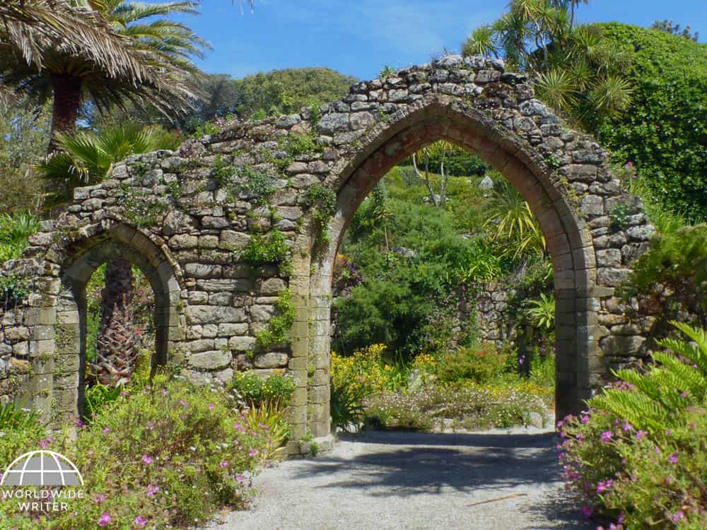 Looking through an old stone archway to the Abbey Garden