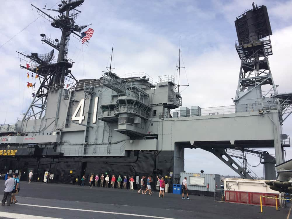 Outside of the USS Midway, painted grey and with the number 41