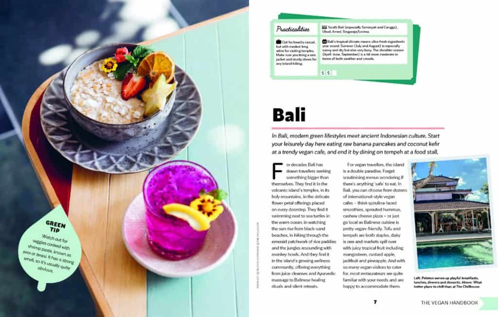 Page showing food in Bali