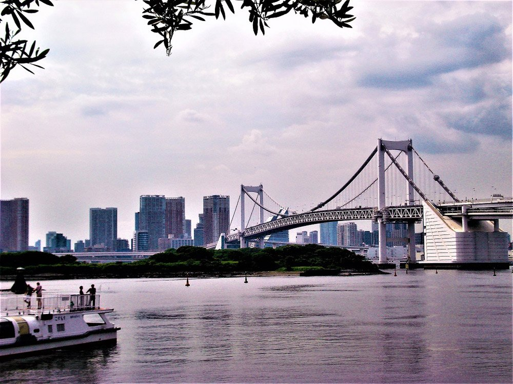 View of a suspension bridge and high rise buildings from the water
