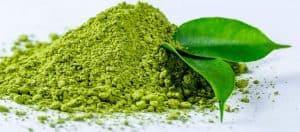 Powdered green tea and green leaf