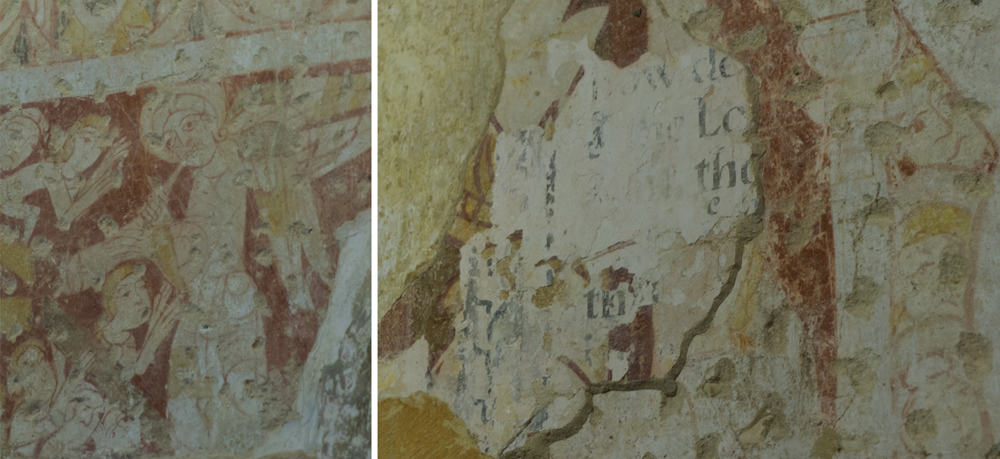 Wall paintings at Houghton-on-the-Hill, one of the painted churches of East Anglia