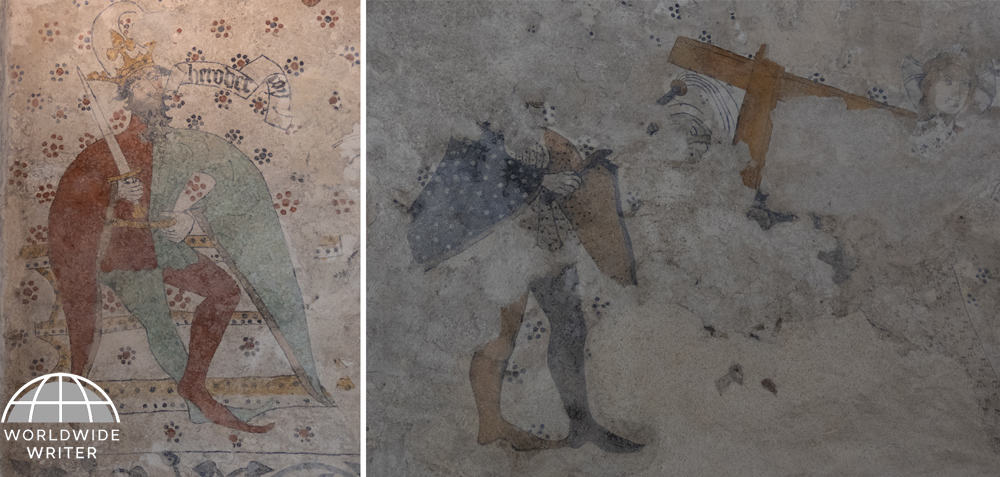 Wall paintings with knightly figures