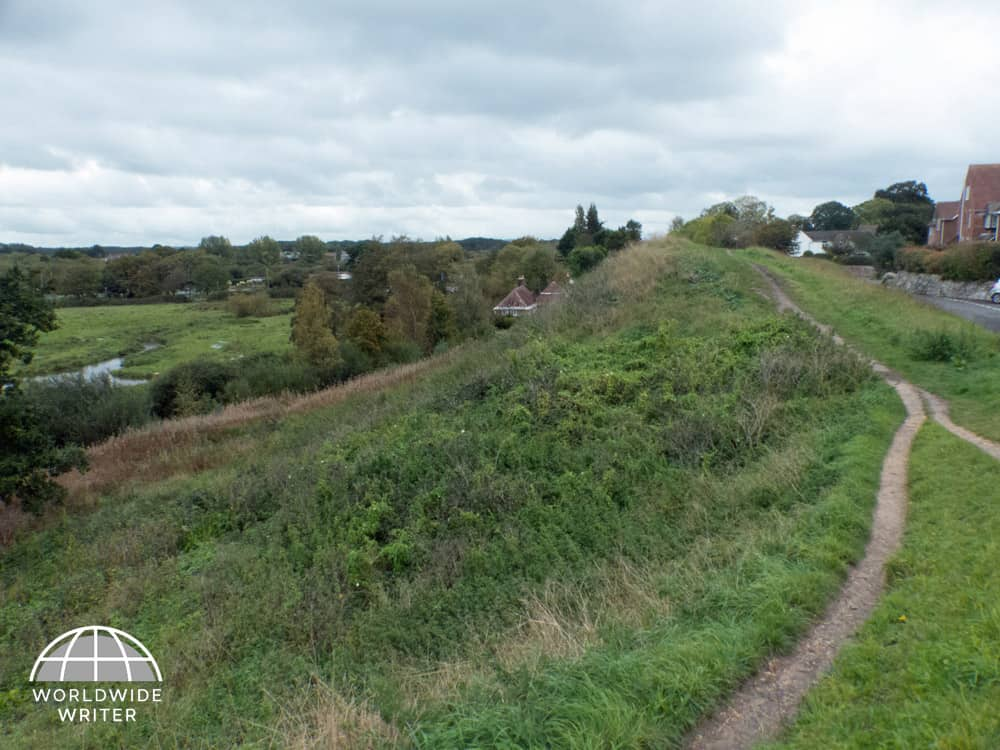 Steep grass bank and countryside