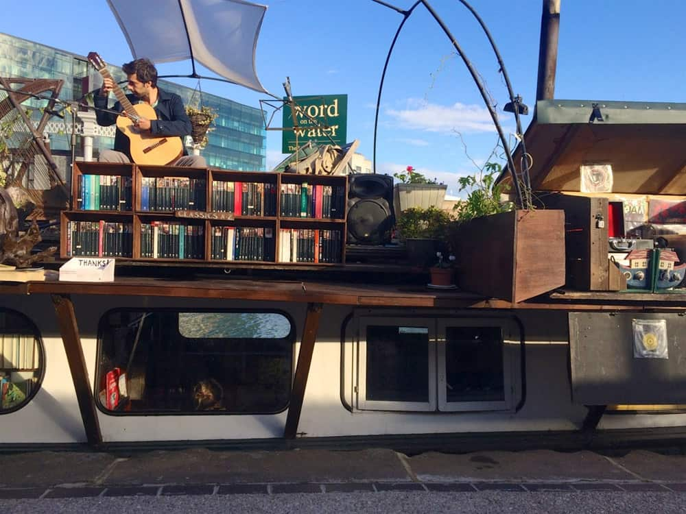 Book shop on a canal barge, one of the unique things to do in London