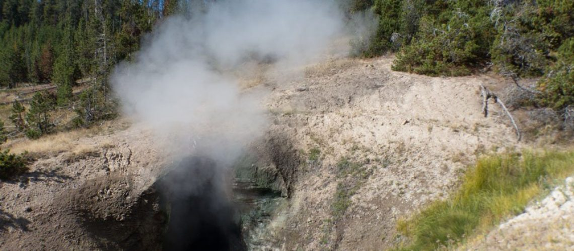 Steam issuing from the Dragon's Mouth Spring