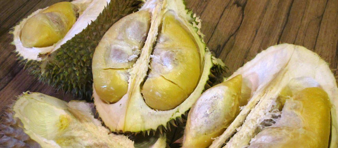 Durian cut in half