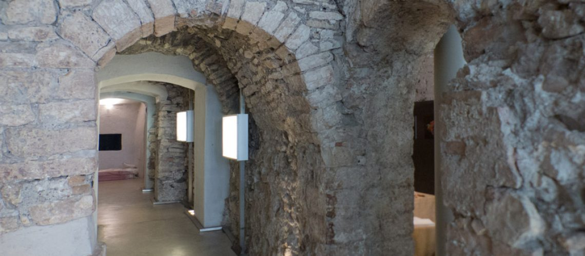 Old Roman wall in the SAS Archaeological Space, Trento