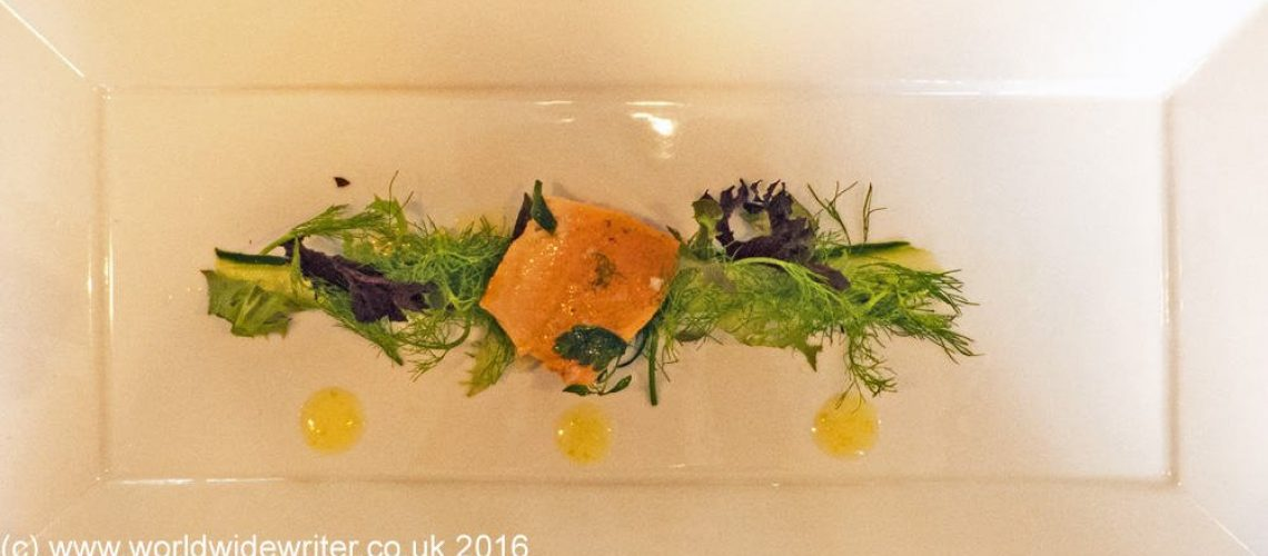 A dish of trout and cucumber