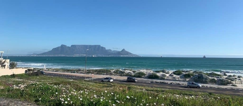 View of Table Mountain from the sea